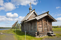 Ensemble of Kizhi Pogost and objects of wooden architecture. Stock Photo