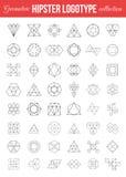 Ensemble labels de hippie géométrique de vintage de rétros Photographie stock