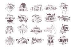 Ensemble lettrage manuscrit heureux de 2018 ans de vacances de nouveau décoré des attributs de fête traditionnels tirés par la ma Photos stock