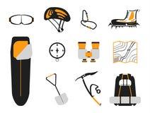 Ensemble limbing de ¡ de Ð : carabines, hache de glace, bottes avec des crampons, sac à dos Images stock