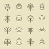Ensemble linéaire d'icône d'arbre Photographie stock