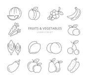 Ensemble linéaire de vecteur d'icônes de fruits et légumes illustration de vecteur