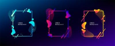 Ensemble liquide organique de cadre de forme La conception liquide abstraite de couleur avec d'autres éléments géométriques raye, illustration libre de droits