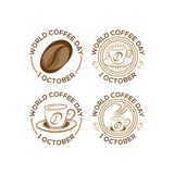 Ensemble logo de jour international de café du 1er octobre Illustration de vecteur de Logo Icon de jour de café du monde sur le f illustration de vecteur