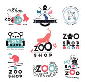 Ensemble logo de zoo, de magasin de bêtes et éléments de conception Images libres de droits