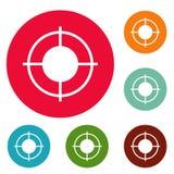 Ensemble lointain de cercle d'icônes de cible illustration de vecteur
