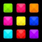 Ensemble lumineux coloré de boutons carrés Illustration de vecteur illustration stock
