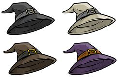 Ensemble médiéval d'icône de vecteur de chapeau supérieur de magicien de bande dessinée illustration stock