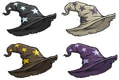 Ensemble médiéval d'icône de vecteur de chapeau supérieur de magicien de bande dessinée illustration libre de droits