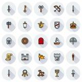 Ensemble MÉDIÉVAL d'icône d'icônes simples de couleur Image libre de droits