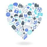 Ensemble médical d'icône de forme de coeur Image libre de droits