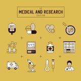 Ensemble médical et de recherches d'icône illustration libre de droits