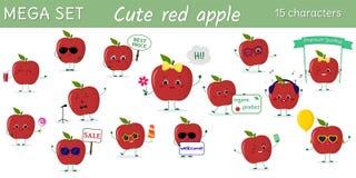 Ensemble méga de quinze caractères rouges de pommes de kawaii mignon dans diverses poses et d'accessoires dans le style de bande  illustration stock