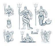 Ensemble magique de neptune poseidon Monde d'imagination Poseidon tiré par la main Tête de Neptune illustration de vecteur