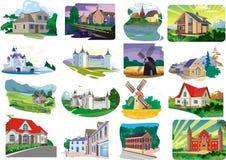 Ensemble - maisons, cottages dans le vecteur images libres de droits