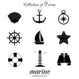 Ensemble marin d'icône Photos stock