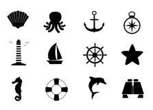 Ensemble marin d'icône Images stock
