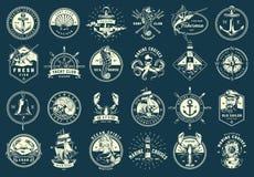 Ensemble maritime monochrome d'emblèmes de cru illustration stock