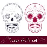 Ensemble mexicain d'illustration de vecteur de crâne de sucre Photo libre de droits