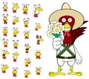 Ensemble mexicain de bande dessinée d'expressions de poulet d'amour Image libre de droits