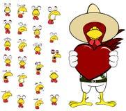 Ensemble mexicain de bande dessinée d'expressions de poulet de coeur Photo libre de droits