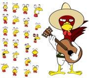 Ensemble mexicain de bande dessinée d'expressions de poulet de guitare Photographie stock
