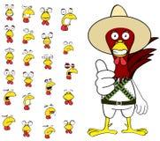 Ensemble mexicain de bande dessinée d'expressions de poulet mignon Images stock