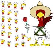 Ensemble mexicain de bande dessinée d'expressions de poulet de Rose Image stock
