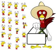 Ensemble mexicain de bande dessinée d'expressions de poulet de Singboard illustration stock