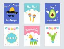 Ensemble mexicain de vecteur d'invitations et de cartes de partie de fiesta illustration libre de droits