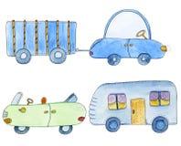 Ensemble mignon avec des voitures et des remorques dans le style de bande dessinée Illustration tirée par la main d'aquarelle Image stock