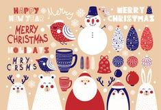 Ensemble mignon d'éléments de Noël pour des affiches et des cartes postales illustration libre de droits