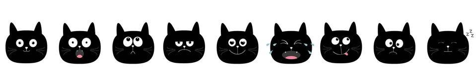 Ensemble mignon d'icône de chat Caractères mignons de kawaii de bande dessinée Collection d'émotion Tête ronde de visage Fond bla illustration de vecteur
