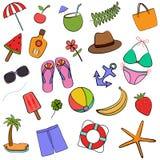 Ensemble mignon d'illustration de vecteur de collection colorée d'icônes d'été illustration de vecteur