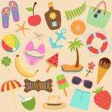 Ensemble mignon d'illustration de vecteur de collection colorée d'icônes d'été illustration stock