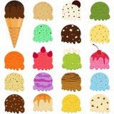 Ensemble mignon d'illustration de vecteur de scoop de crème glacée, beaucoup f coloré illustration stock