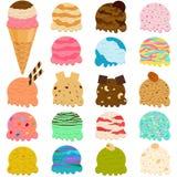 Ensemble mignon d'illustration de vecteur de scoop de crème glacée, beaucoup f coloré illustration de vecteur