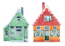 Ensemble mignon d'illustrations d'aquarelle, maison avec des fen?tres et volets Chambres du village n?erlandais illustration libre de droits