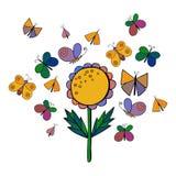 Ensemble mignon d'insecte de bande dessinée Papillons et fleurs Illustration de vecteur Photos stock