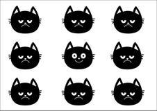 Ensemble mignon de chat noir Collection d'émotion Heureux, sourire et visage triste et fâché de tête de chaton Characte drôle de  Images libres de droits