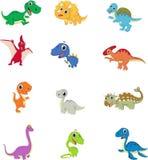 Ensemble mignon de collection de bande dessinée de dinosaures illustration de vecteur