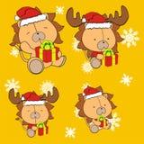 Ensemble mignon de costume de Noël Claus de bande dessinée de lion Photographie stock