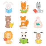 Ensemble mignon de livres de lecture de caractères d'animaux, chat futé adorable, Panda Bear, lion, agneau, Fox, loup, lapin, s illustration de vecteur