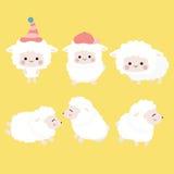 Ensemble mignon de moutons de bande dessinée Image stock