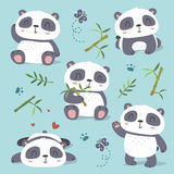 ensemble mignon de panda de style de bande dessinée illustration de vecteur
