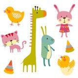 Ensemble mignon de vecteur d'animaux de bébé Image libre de droits