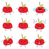 Ensemble mignon de vecteur d'Apple Emojis illustration stock