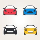 Ensemble mignon de vue de face d'icônes de voitures (signe) Silhouette d'automobile Illustration de vecteur Image stock