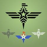 Ensemble militaire d'emblème d'aigle de style Photographie stock libre de droits