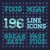 ensemble mince d'icône de vecteur de la nourriture 196 et des boissons Photos libres de droits